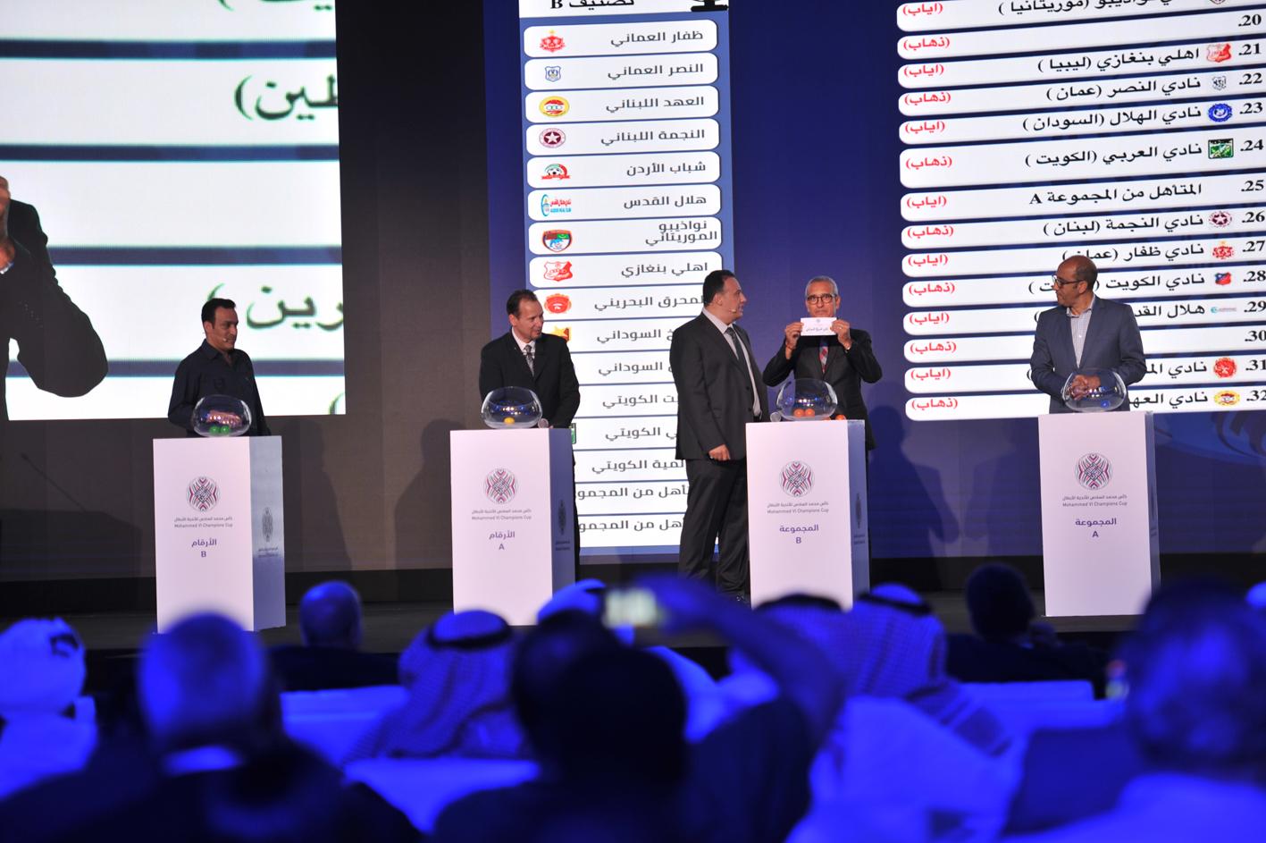 كأس محمد السادس للأندية العربية الأبطال (قرعة دور السدس عشر): برنامج المباريات