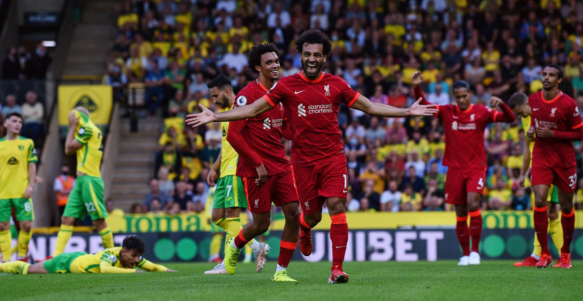 صلاح مهاجم ليفربول يسجل هدفه 100 بالبطولة الإنجليزية